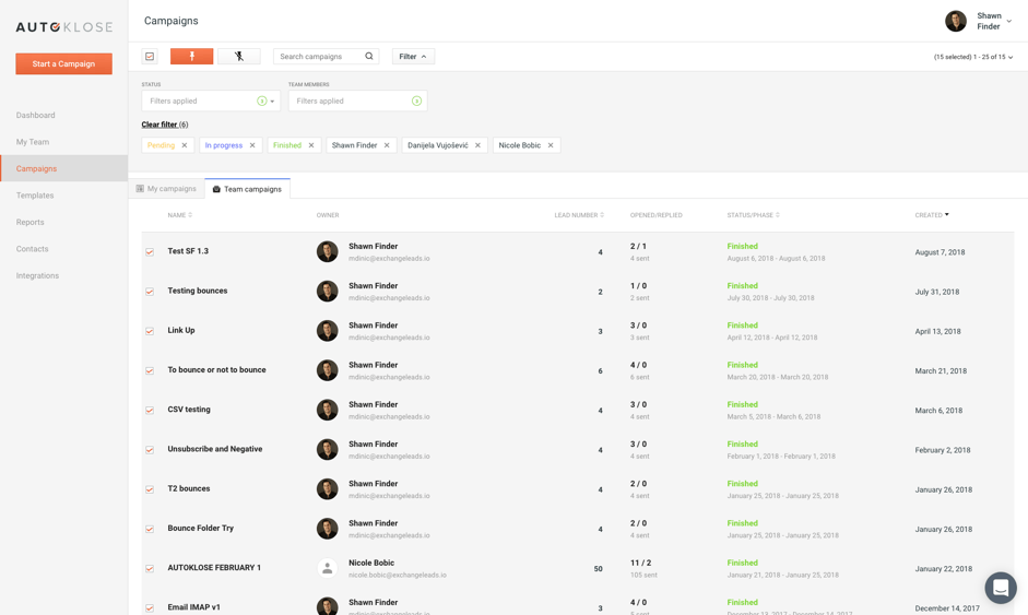 Autoklose- cold email- dashboard