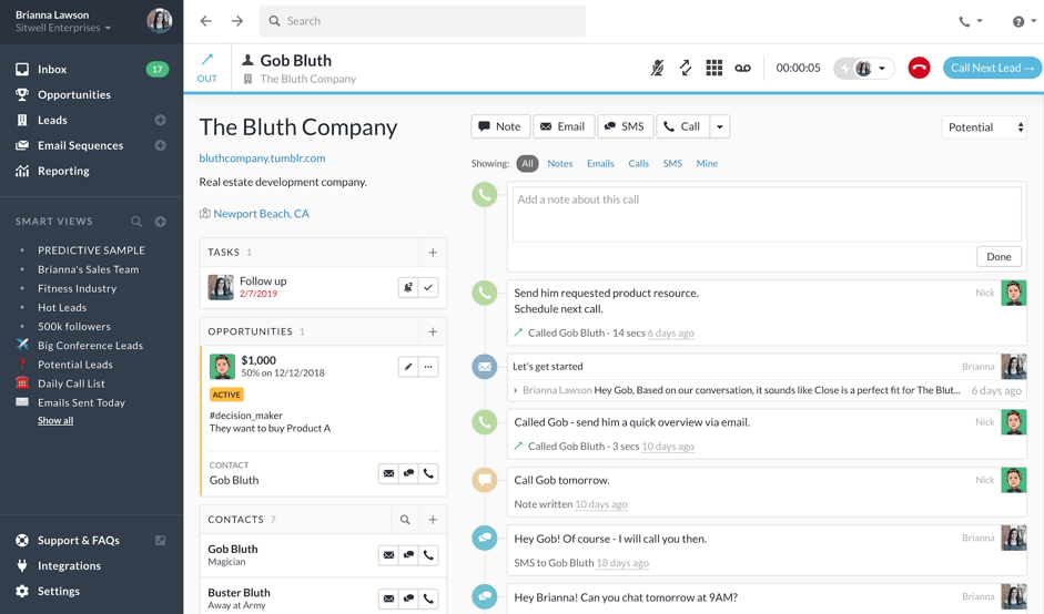 Close- cold email tool dashboard