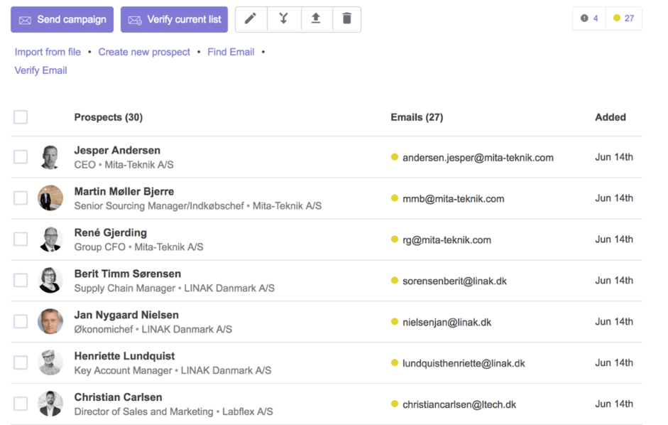 Snov- cold email tool- dashboard