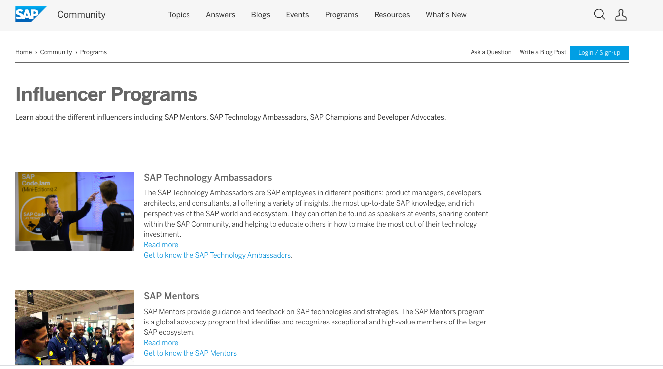 SAP influencer program