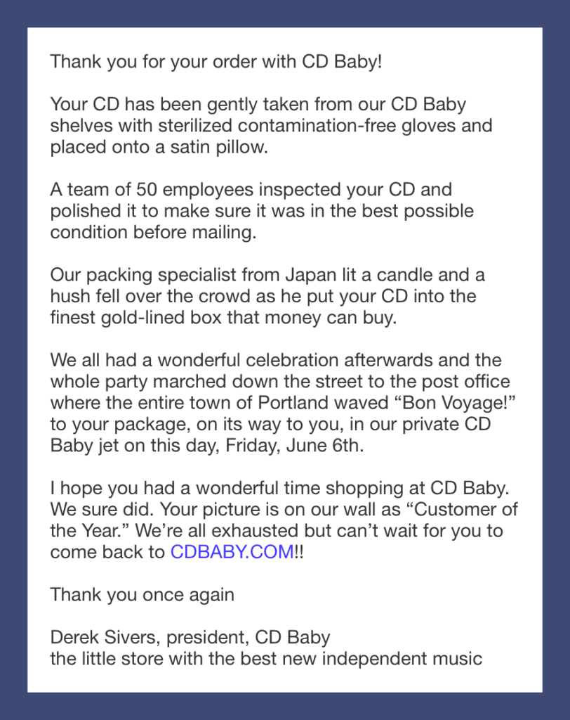 CD Baby Shipping Email Example