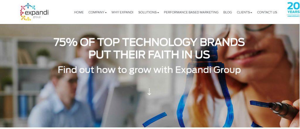 Expandi Group B2B Agency website