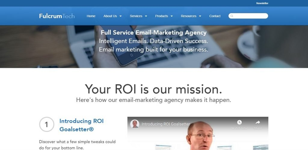 Fulcrum Tech email marketing agency front page