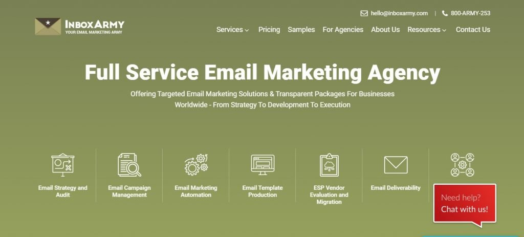 Inbox Army full service email marketing agency homepage