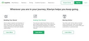 Screenshot of the Klaviyo Retail Marketing Platform Homepage