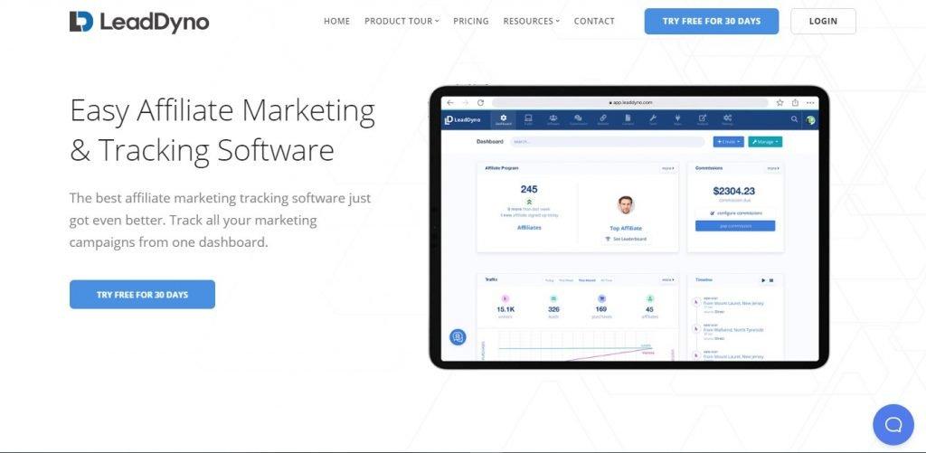 LeadDyno Partner Marketing Software landing page