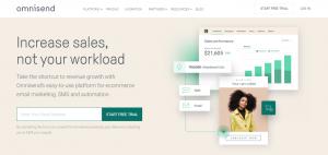 Screenshot of the Omnisend Retail Marketing Platform Homepage