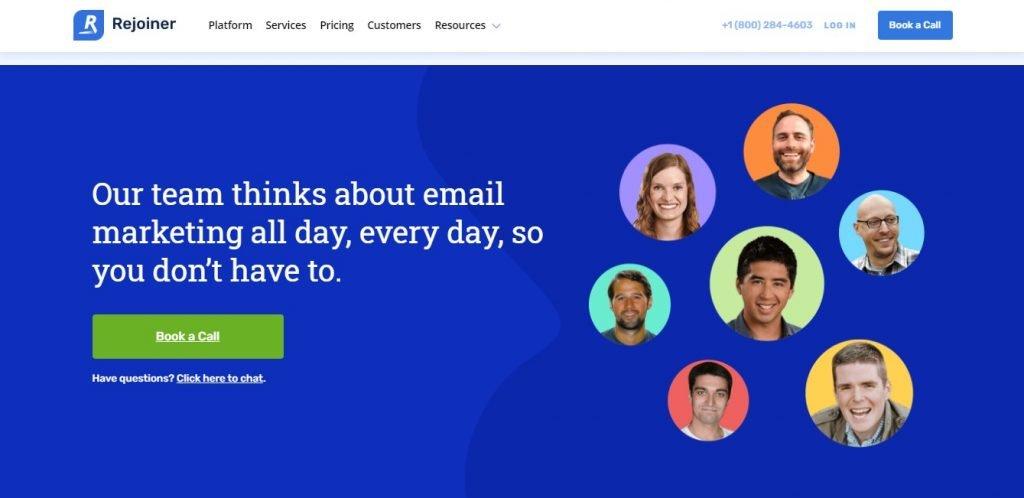 Rejoiner email agency homepage