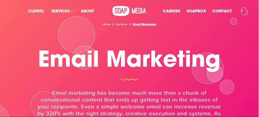 Soap Media agency landing page