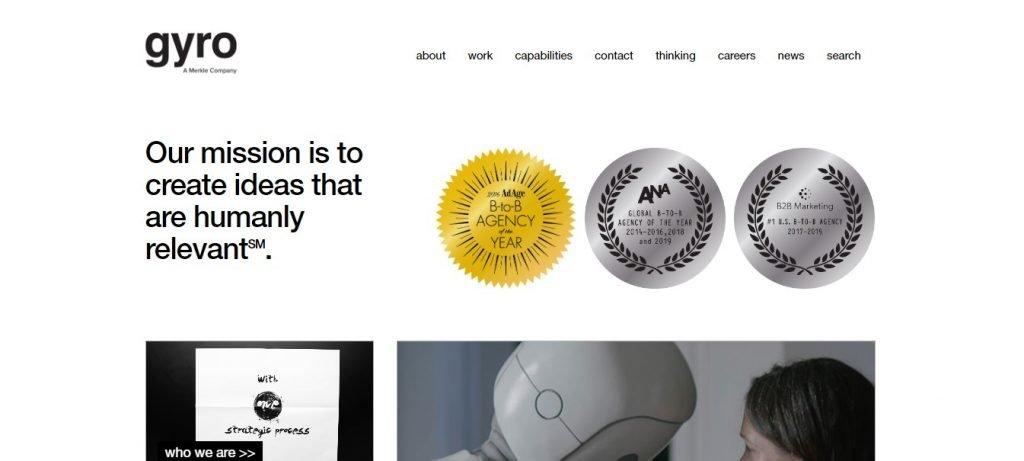 gyro B2B marketing agency website