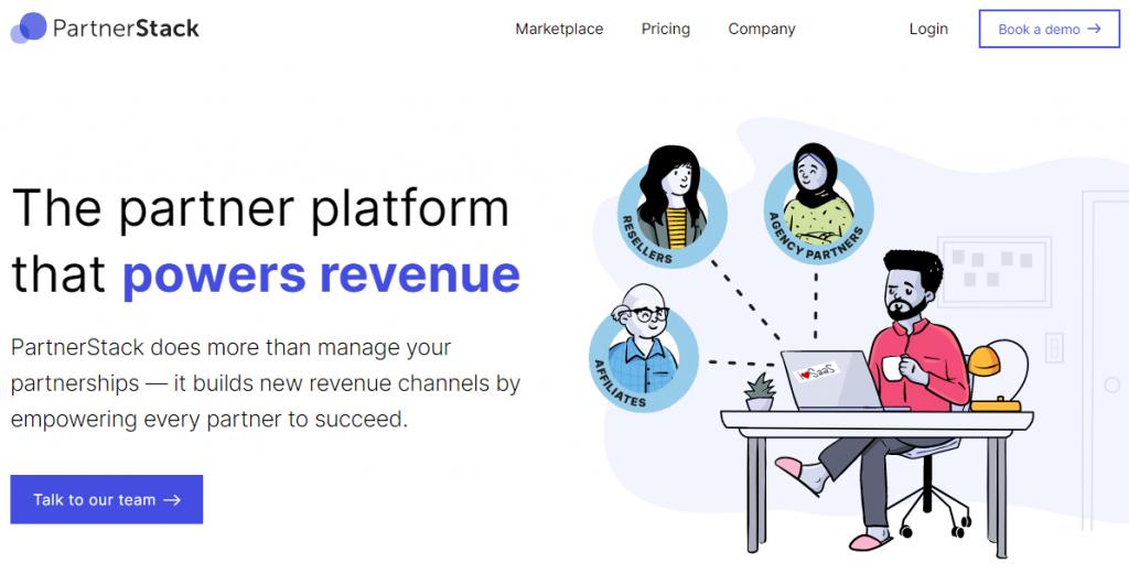 Screengrab of PartnerStack's affiliate management software website