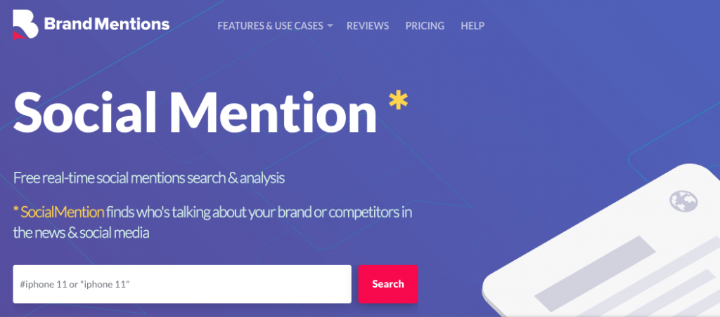 The Social Mentions logo and search bar.