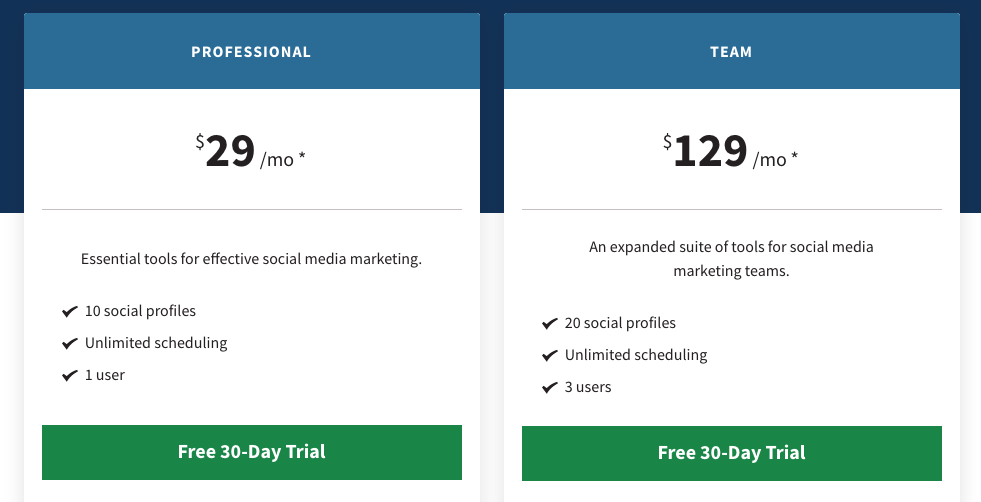 Hootsuite's pricing plan for a professional or a team, starting from $29.