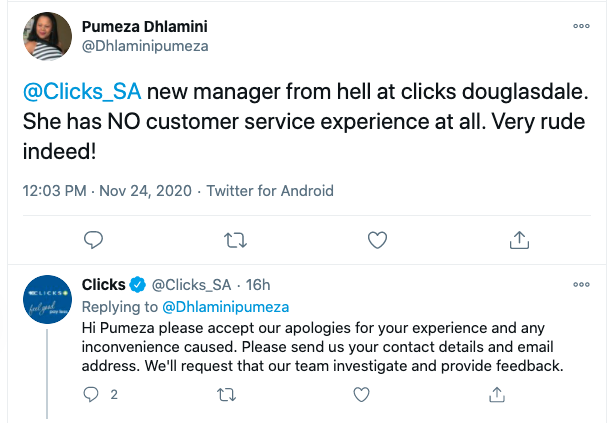 An apology tweet reply from the business Clicks to a customer who complained about a bad manager.