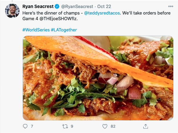 A tweet from Ryan Seacrest saying Teddy's Red Tacos are the dinner of champs.
