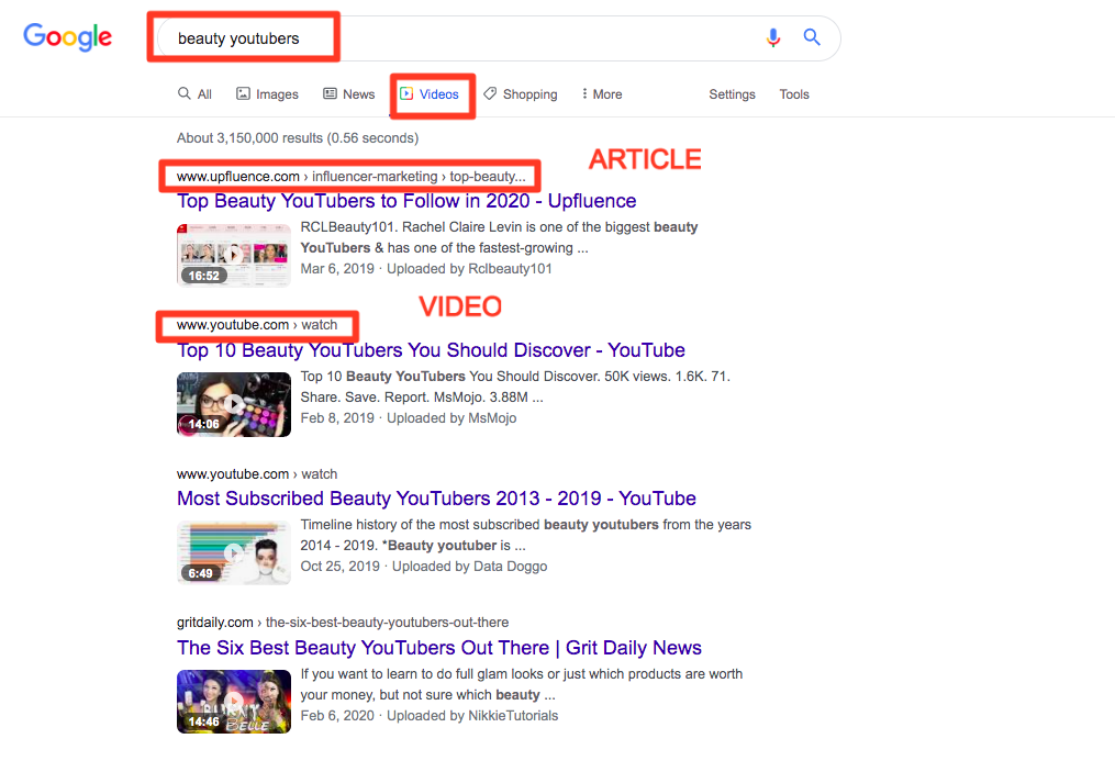 Google search for youtubers