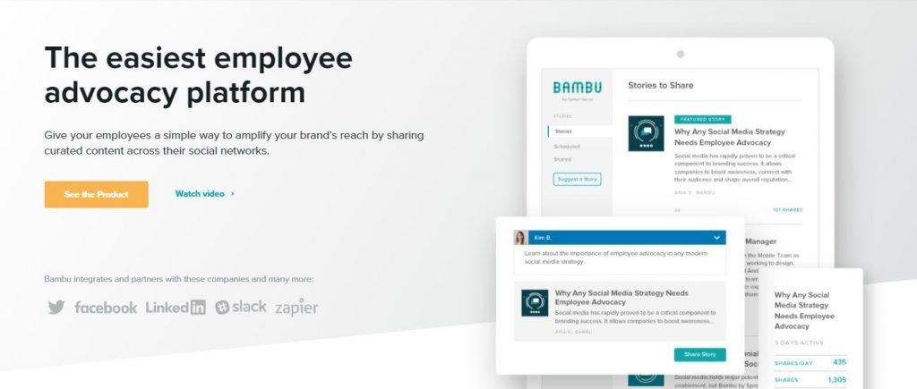 Employee advocacy platforms – Screenshot of the Bambu Homepage