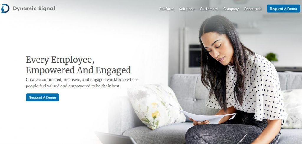 Employee advocacy platforms – Screenshot of the Dynamic Signal Homepage