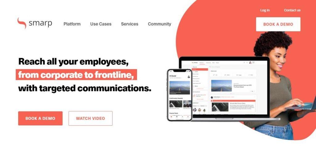 Employee advocacy platforms – Screenshot of the Smarp Homepage