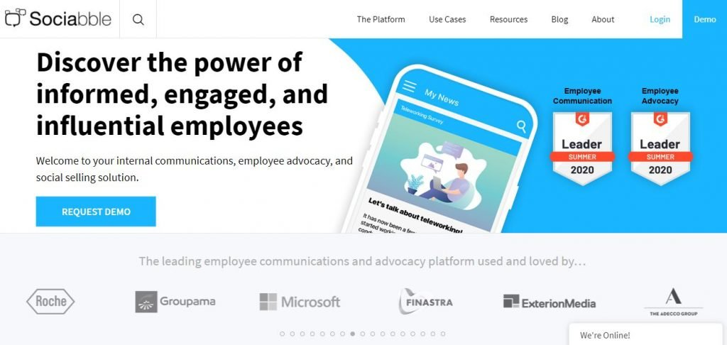 Employee advocacy platforms – Screenshot of the Sociabble Homepage