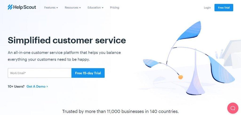Help Scout – Screengrab of Homepage