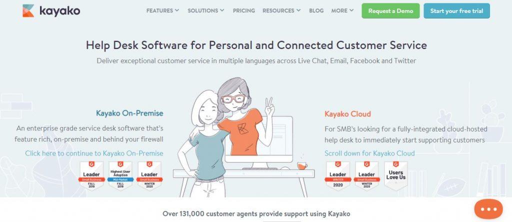 Kayako - Screengrab of Homepage