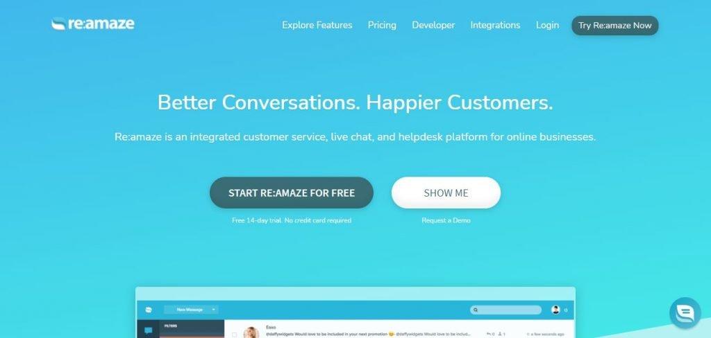 Re:Amaze - E-commerce help desk software – Screengrab of Homepage