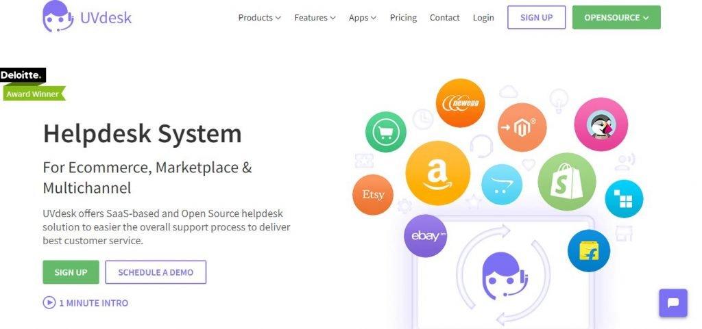 UVDesk - E-commerce help desk software – Screengrab of Homepage
