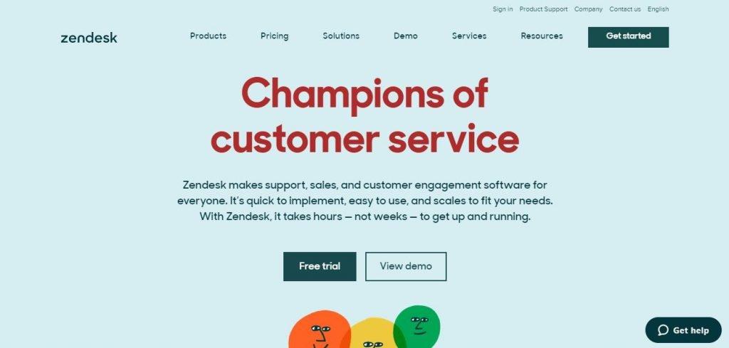 Zendesk - E-commerce help desk software – Screengrab of Homepage