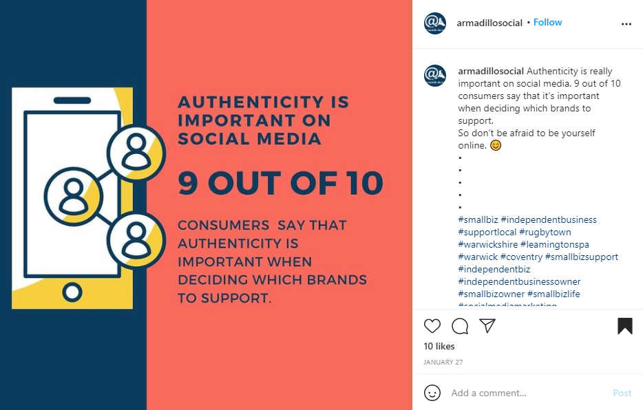"""Instagram screenshot for employee advocacy stats """"9 out of 10 consumers say that authenticity is important"""""""