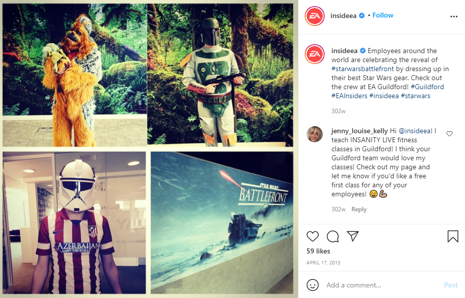 Screenshot of a post from EA Games' Employee Advocacy Program