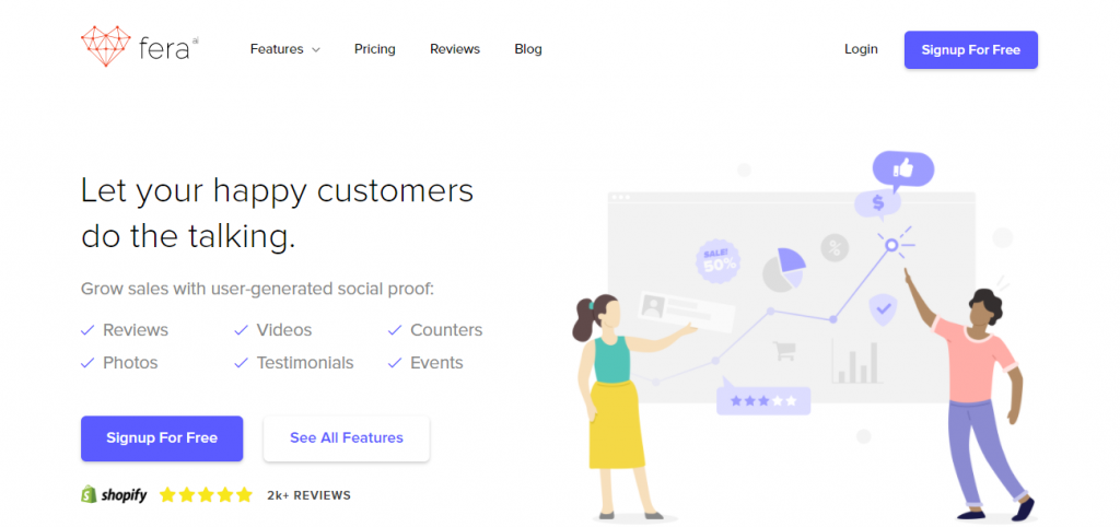 Screenshot of the Fera Social Proof App Homepage