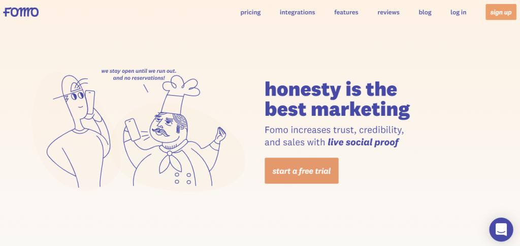 Screenshot of the Fomo Social Proof App Homepage