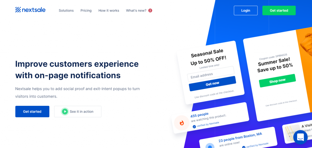 Screenshot of the Nextsale social proof app home page