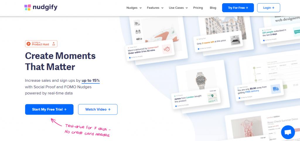 Screenshot of the Nudgify Social Proof App homepage