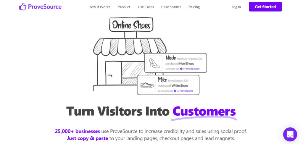 Screenshot of the ProveSource Social Proof App homepage