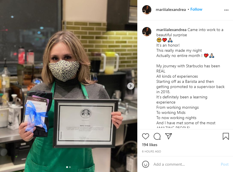 Screenshot of a post from the Starbucks to Be a Partner Employee Advocacy Program