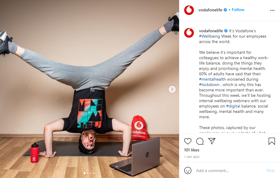 Screenshot of a post from Vodafone's Employee Advocacy Program