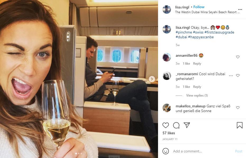 Customer Appreciation - Instagram screenshot of a happy woman who had her ticket upgraded to first class
