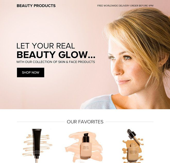 product catalogue landing page
