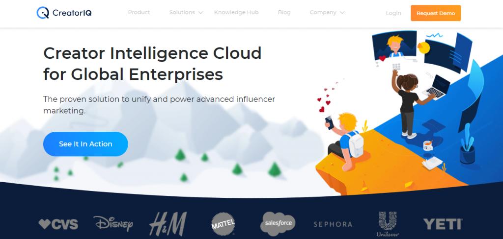 Screenshot of the Creator IQ Influencer Marketing Research Tool Homepage