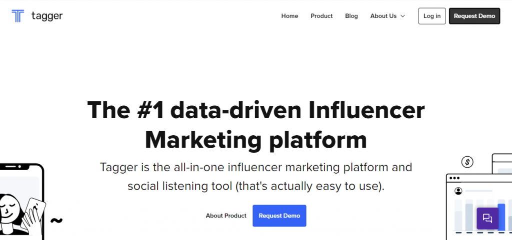 Screenshot of the Tagger Media Influencer Marketing Research Tool Homepage