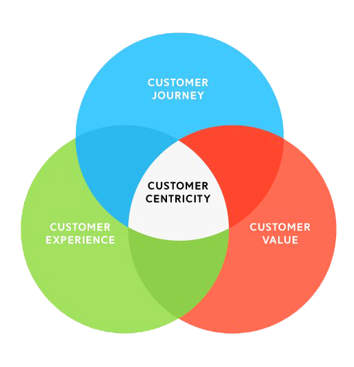 Customer-centric Strategy graphic illustrating the overlap between 'customer experience', 'customer value' and 'customer journey' with 'customer centricity' in the center.