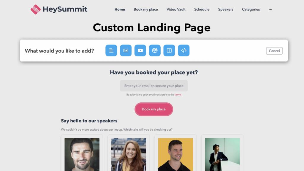 Virtual Event Platforms - Screenshot of the HeySummit landing page