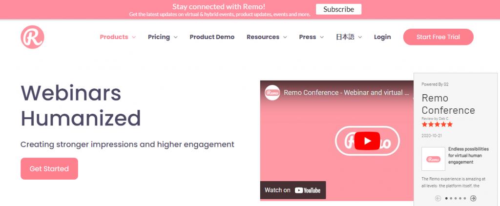 Screenshot of the Remo Virtual Event Platform Homepage