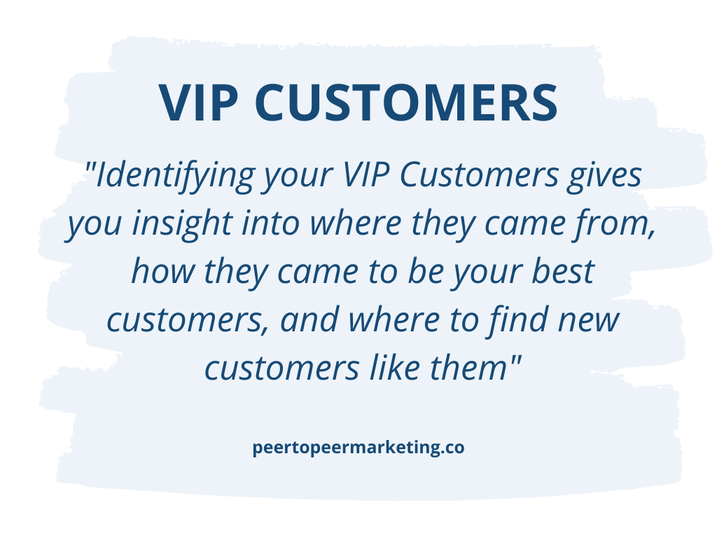 Image Text: Identifying your VIP customers gives you insight into where they came from, how they came to be your best customers, and where to find new customers like them