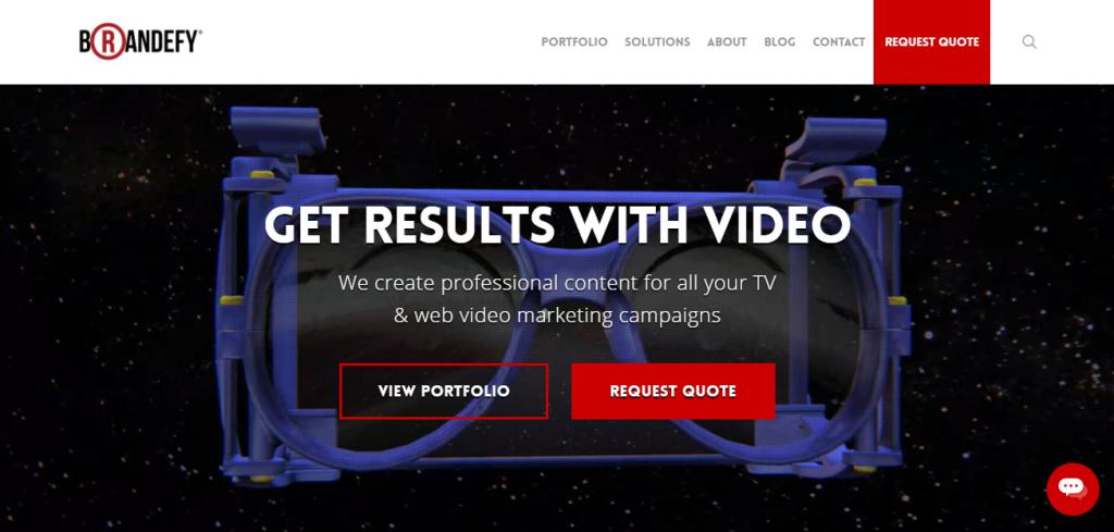 Screenshot of the Brandefy video marketing agency homepage