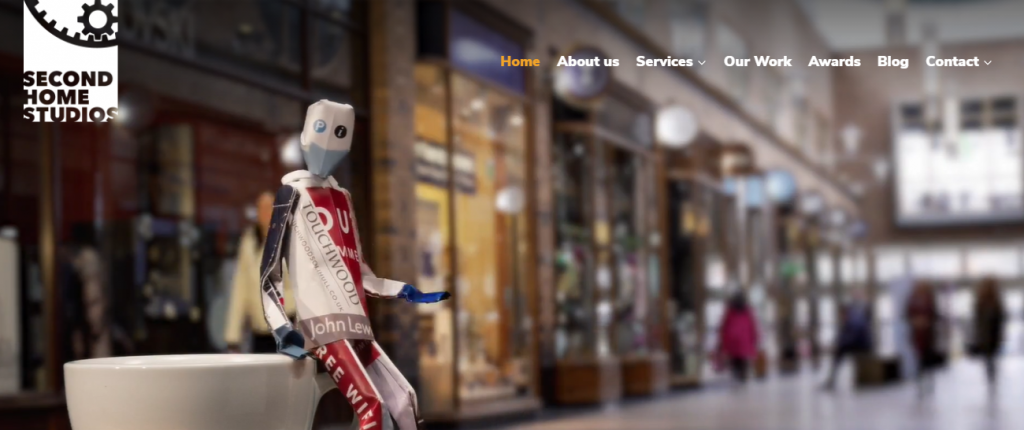 Screenshot of the Second Home Studios video marketing agency homepage