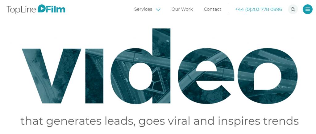Screenshot of the TopLine Film video marketing agency homepage