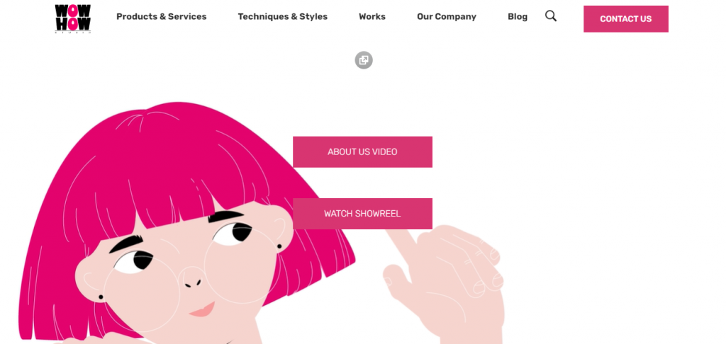 Screenshot of the Wow-How video marketing agency homepage